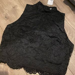 Black lace turtle neck top